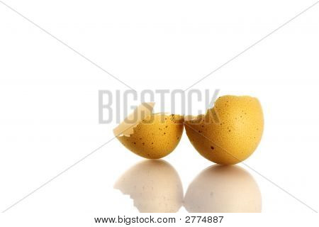 Empty And Broken Eggshell Isolated On White