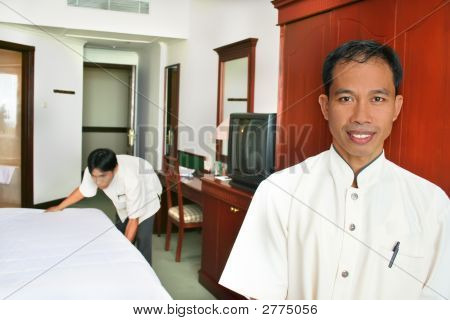 Room Boy Or Housekeeping At Hotel