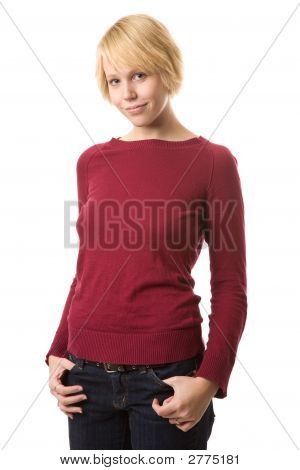 Smiling Blond In Red Sweater