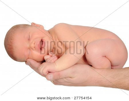 Newborn Laying In Father's Hand. Isolated