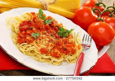 Spaghetti With Tomato Sauce.