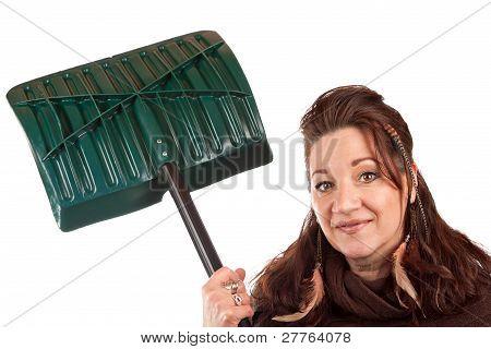 Woman Holding Her Snow Shovel