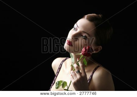 Sensual Portrait With Rose