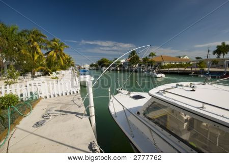 Canal With Boats And Homes Florida Keys