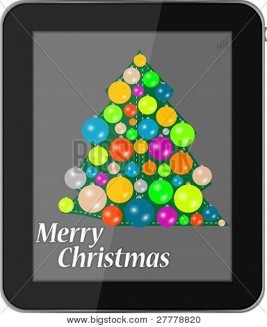 Tarjeta de Navidad en smartphone aislado sobre un fondo blanco