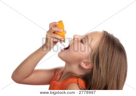 Girl Drink Juice Orange