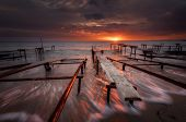 Seascape During Sunset. Beautiful Natural Seascape, Blue Hour. Sea Sunset At The Black Sea Coast. Ma poster