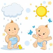 Icon Set Of Kids Boys For Children And Design, A Boy In A Bad Mood Stands In A Puddle Under A Cloud  poster