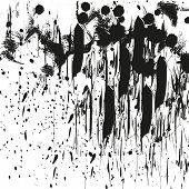 Paint Splatter Background. Grunge Distress Calligraphy Ink Stains. Black Ink Blow Explosion. Splatte poster
