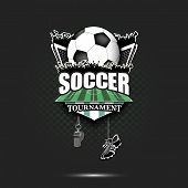 Soccer Logo Design Template. Football Emblem Pattern. Soccer Ball, Gate, Fans, Field, Shield, Whistl poster