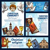 Christian Religion Sketch Posters With Symbols Of Christianity, Catholicism And Orthodoxy. Holy Bibl poster