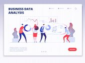 Landing Page. People With Dashboard And Data Charts Infographic. Business Analysis And Statistics Ag poster