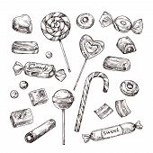Hand Drawn Candies. Chocolate Candy, Lollipop And Marmalade, Sweets. Vintage Sketch Vector Set Of Lo poster