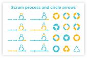 Scrum Info Graphic Diagram Element Vector Set Illustration. Agile Diagram, Recycle Symbol And Circle poster