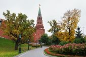 Borovitskaya (predtechenskaya) Tower. Is The Tower Of The South-western Of The Moscow Kremlin. The T poster