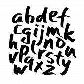 Alphabet Letters.black Handwritten Font Drawn With Liquid Ink And Brush. Calligraphic Script Vector  poster