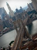 stock photo of brooklyn bridge  - A shot of the Brooklyn Bridge in NYC - JPG