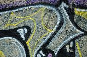 Texture Of A Fragment Of The Wall With Graffiti Painting, Which Is Depicted On It. An Image Of A Pie poster