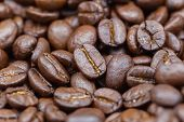 Coffee Beans Texture Background. Brown Roasted Coffee Beans. Closeup Shot Of Coffee Beans. Coffee Be poster