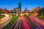 Dallas, Texas, USA skyline over Dealey Plaza at twilight. poster