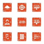 Data Recovery Icons Set. Grunge Set Of 9 Data Recovery Icons For Web Isolated On White Background poster
