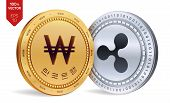 Ripple. Won. 3d Isometric Physical Coins. Korea Won Coin With The Text In Korean Bank Of Korea. Cryp poster
