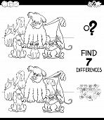 Black And White Cartoon Illustration Of Finding Seven Differences Between Pictures Educational Game  poster