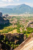 Meteora, Greece - June 16, 2013: Panoramic View Of Scenic Meteora Rock Formations Landscape And Vall poster