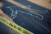 Crime Scene. Chalk Outline. KILLER CLOWN Chalk Outline in the street.  Clown with hand gun chalk out poster