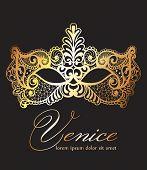 Golden Lace Mask Carnival Vector. Venice Carnival Card. Masquerade Party. Mardi Gras Invitation. Car poster
