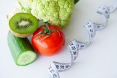 Diet. Fitness And Healthy Food Diet Concept. Balanced Diet With Vegetables. Fresh Green Vegetables,  poster