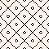 Square Grid Seamless Pattern. Vector Abstract Geometric Black And White Texture With Crossing Lines, poster