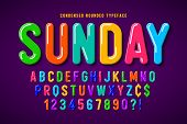 Flat Bubble Comical Font Design, Colorful Alphabet poster