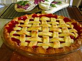 image of cherry pie  - A fresh homemade cherry pie just like grandma used to make - JPG