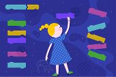 Cute Smart Girl Is Coding On Abstract Screen. Children Coding And Code Training Design Concept In Fl poster