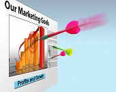 pic of marketing plan  - Business bar graph on wall with darts thrown - JPG