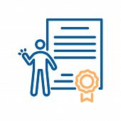 Trendy Thin Line Icon Of A Person Celebrating His Success With A Diploma Or Certificate Paper With A poster
