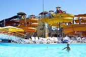 picture of amusement park rides  - Aqua park in Anapa Black sea coast Russia - JPG