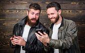 Online Business. Modern Technology. Men With Smartphones Surfing Internet. Mobile Internet. Business poster