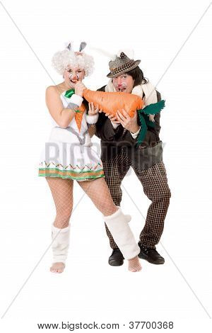 Funny Couple Dressed As Rabbits
