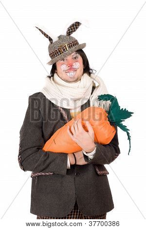 Portrait Of Young Man With Carrot