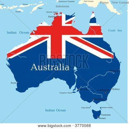 Mapa del continente australiano