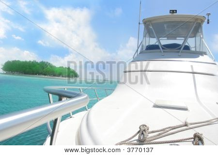 Yacht And Island In Tropical