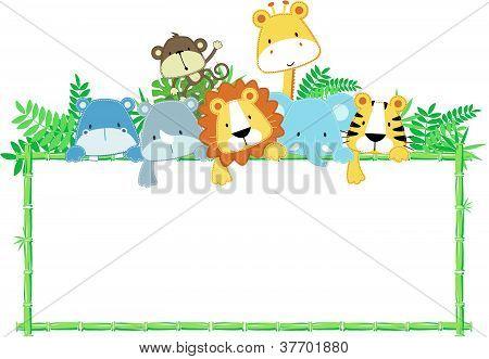 Schattige baby dieren safari vector frame