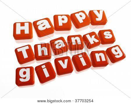 Happy Thanksgiving In Orange Blocks