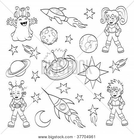 Cartoon outer space set (coloring book)
