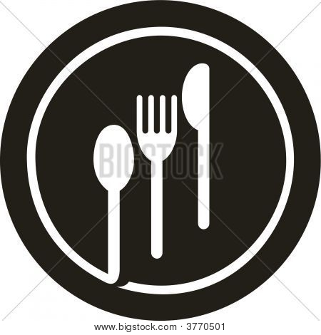 Plate With Fork, Knife And Spoon On Top Of It