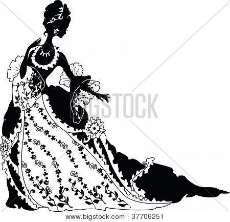 Graphic silhouette of a rococo woman