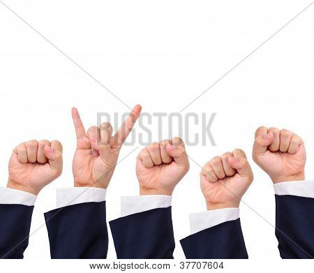 Conceptual Image, Rock And Strength Hand Signs