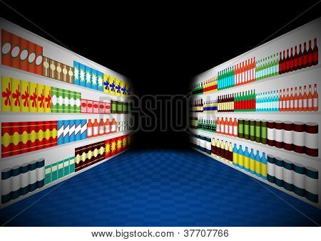 Dark Supermarket Shelves Corridor